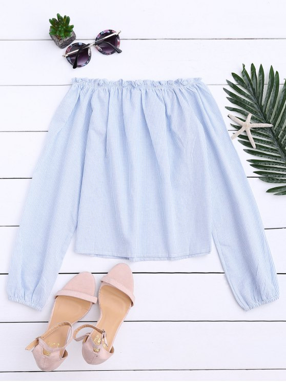 Striped Off Shoulder Ruffle Top - LIGHT BLUE ONE SIZE Mobile