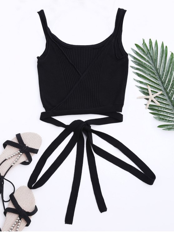 best Knit Wrap Crop Tank Top - BLACK L