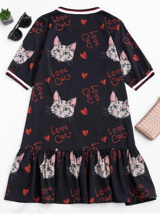 Ruffles Cat Print Mini Dress - BLACK S Mobile