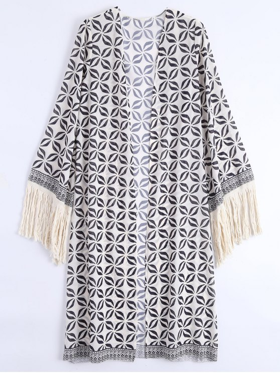 lady Open Front Fringed Bohemian Beach Cover Up - OFF-WHITE ONE SIZE