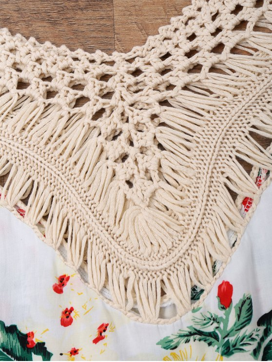 Floral Crochet Panel Beach Cover Up Top - OFF-WHITE ONE SIZE Mobile