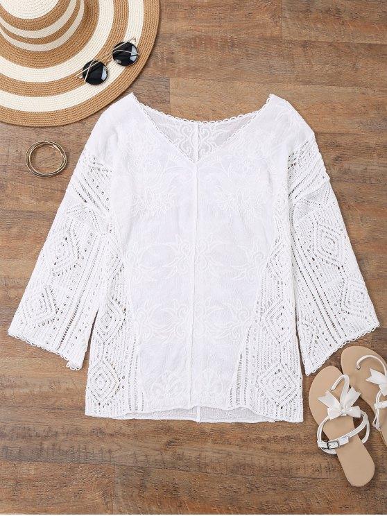 V cuello bordado Crochet Beach Cover Up - Blanco Única Talla