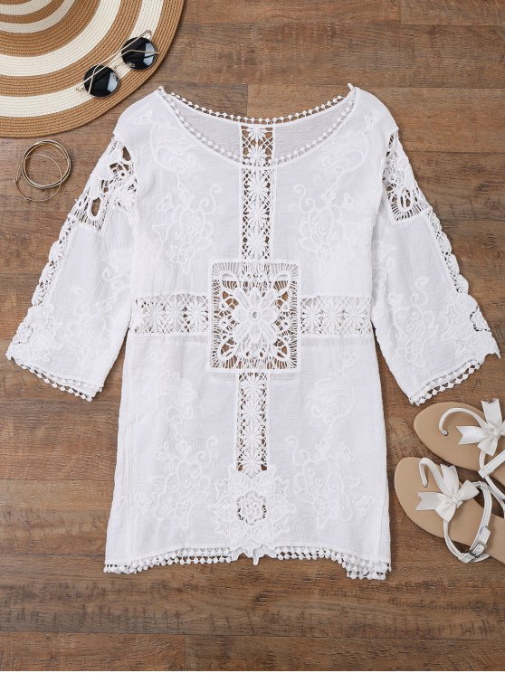 Sheer Crochet Panel Beach Cover Up Arriba - Blanco Única Talla