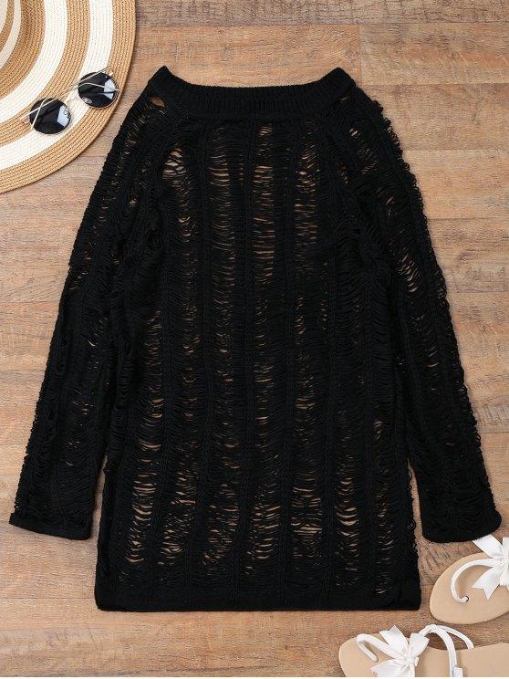 womens Long Sleeves Sheer Beach Cover Up Dress - BLACK M