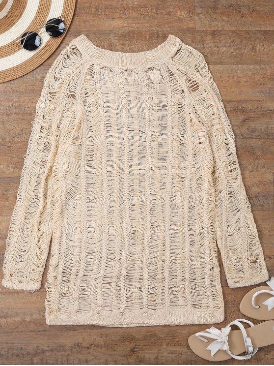 الأكمام الطويلة شير الشاطئ التستر اللباس - اللون البيج XL