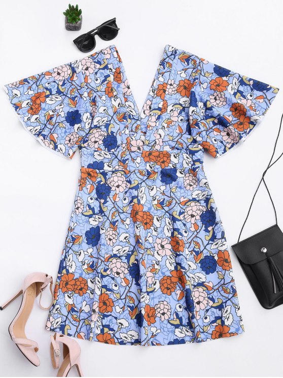 Kimono Sleeve Empire Wasit Floral Mini Dress - FLORAL S Mobile
