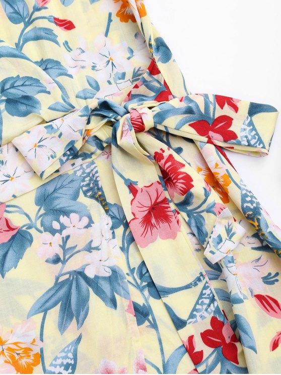 Side Tied Floral Surplice Mini Dress - FLORAL S Mobile