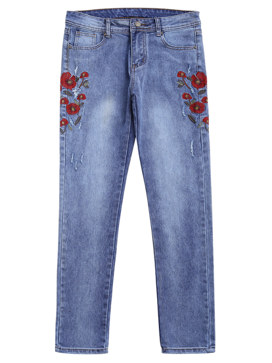 Ripped Floral Embroidered Tapered Jeans - DENIM BLUE L Mobile