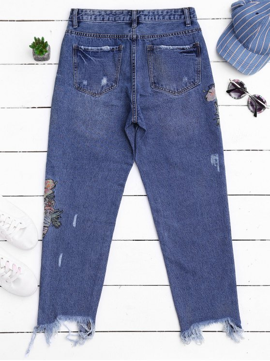 Ripped Cutoffs Embroidered Tapered Jeans - DENIM BLUE XL Mobile