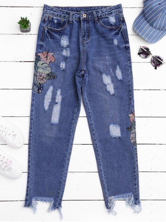 Corte rasgado bordado Jeans cónicos - Denim Blue L