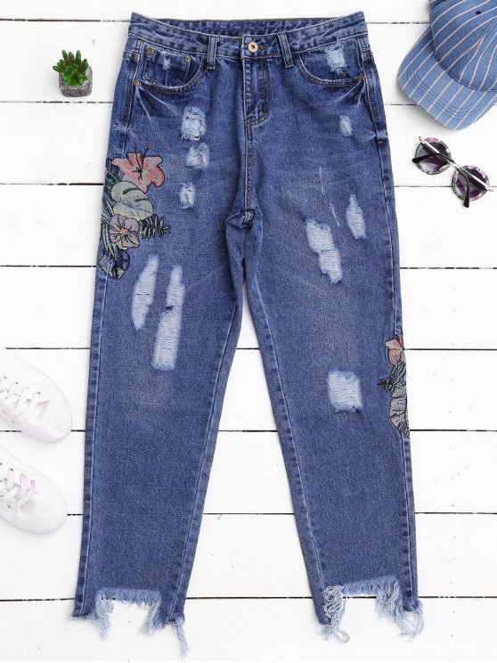 affordable Ripped Cutoffs Embroidered Tapered Jeans - DENIM BLUE S