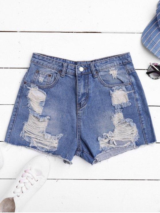 womens Ripped Cutoffs Denim Shorts - DENIM BLUE L
