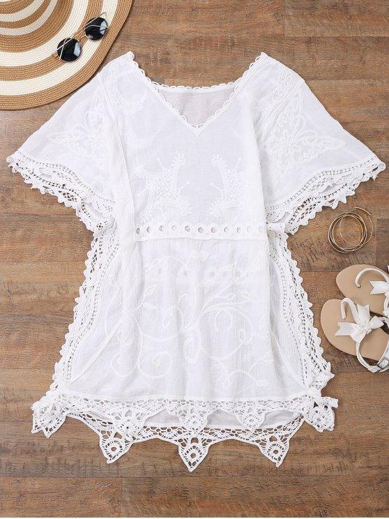 فتح الجانب شاطئ القفطان التستر اللباس - أبيض حجم واحد