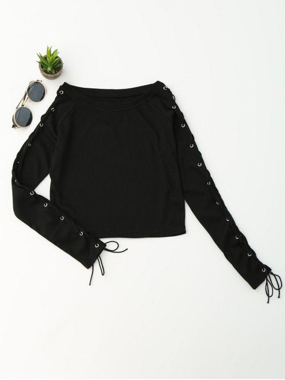 lady Split Sleeve Lace Up Knit Crop Top - BLACK S