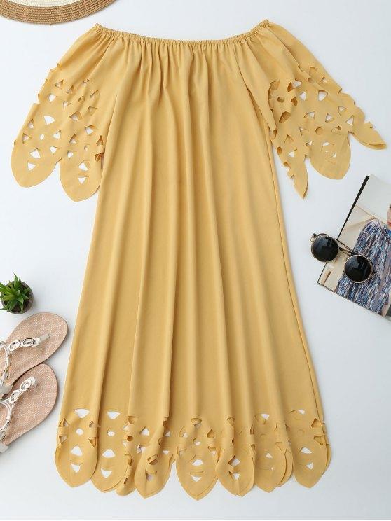 Vestido de Encaje con Vuelo con Hombros al Aire - Amarillo XL
