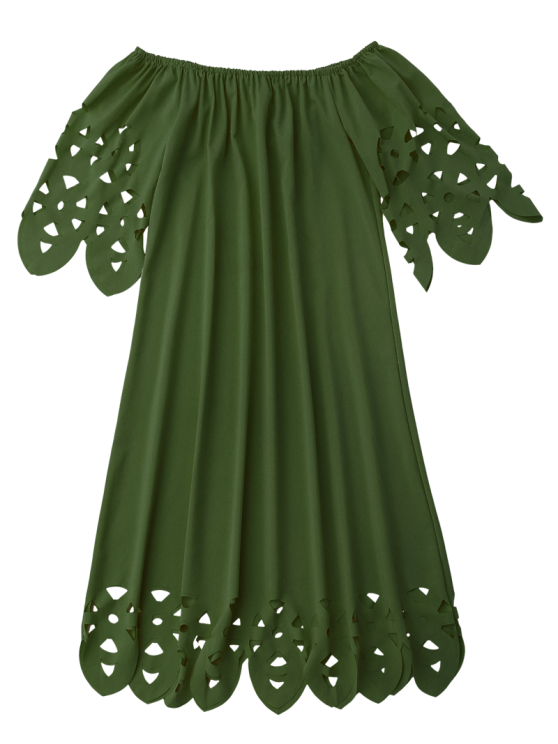 Off The Shoulder Flared Dress - ARMY GREEN S Mobile