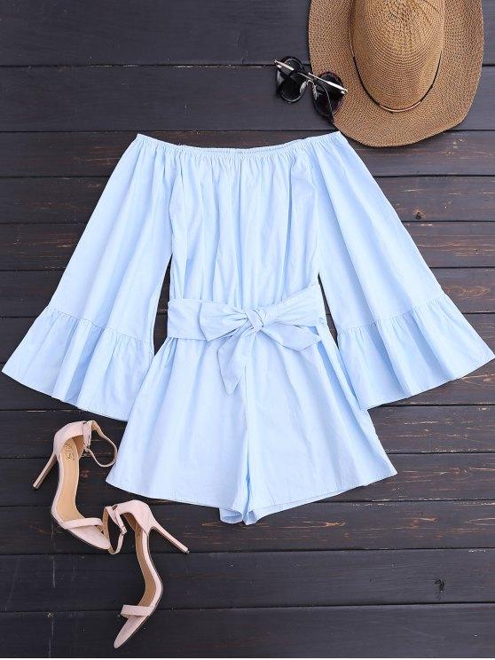 shop Off Shoulder Flare Sleeve Romper With Belt - LIGHT BLUE L