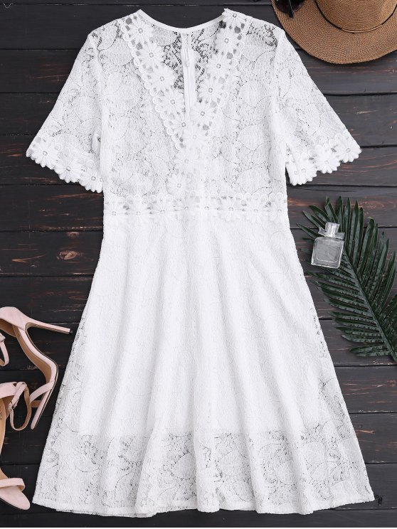 fashion Sheer Plunge Neck Lace Dress - WHITE M