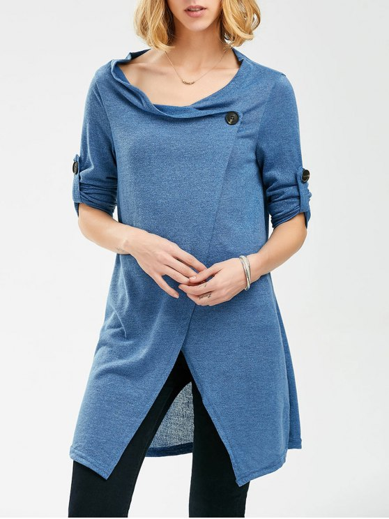 womens Pullover Long Sleeves Button Sweater - BLUE ONE SIZE