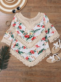 Top Couverture De Plage  à Motif Floral Au Crochet  - Blanc Cassé