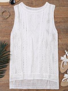 Cache Maillots Débardeur De Plage En Crochet Demi-transparent - Blanc