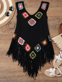 Crochet Tasselled Beach Cover Up Tank Top - Black