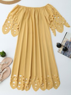 Off The Shoulder Flared Dress - Yellow Xl