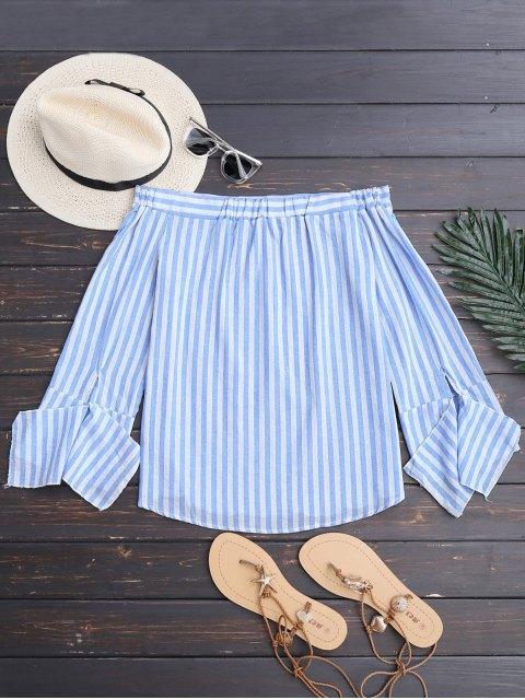 buy Slit Sleeve Off Shoulder Striped Top - BLUE STRIPE S Mobile