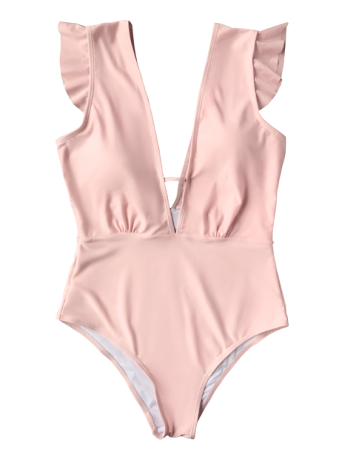 hot Ruffles Plunging Neck One Piece Swimsuit - PINK S Mobile