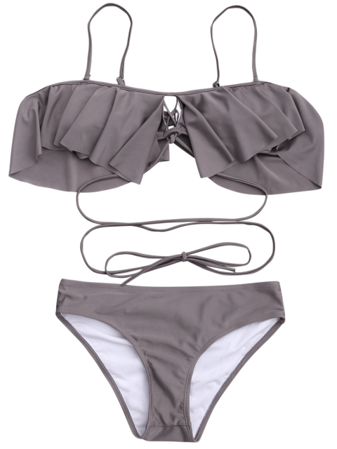latest Lacing Ruffle Off The Shoulder Bikini Set - TAUPE S Mobile