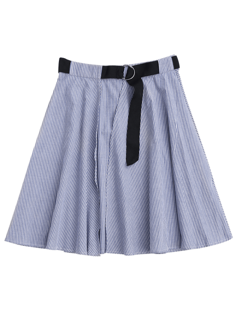unique Belted Wrap Layered A-Line Skirt - STRIPE L Mobile