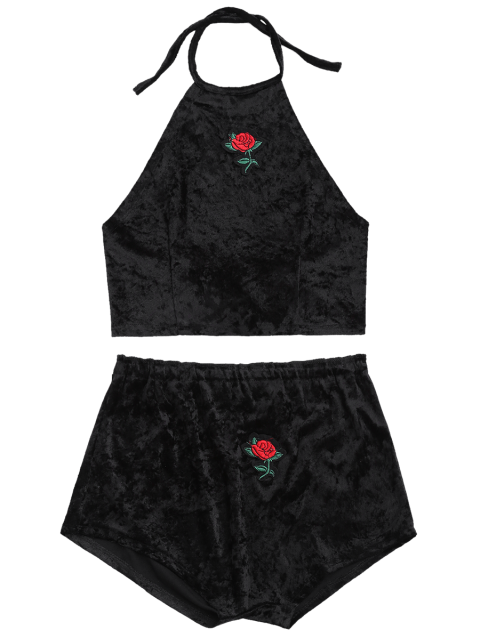 womens Backless Velvet Cropped Top and Floral Patched Shorts - BLACK S Mobile