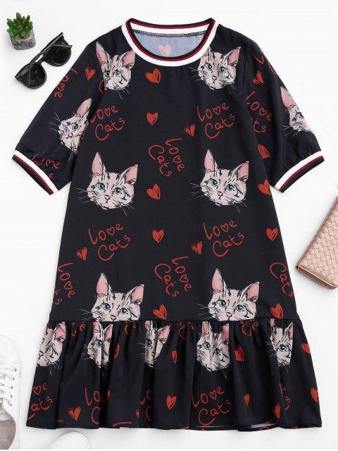outfits Ruffles Cat Print Mini Dress - BLACK S Mobile