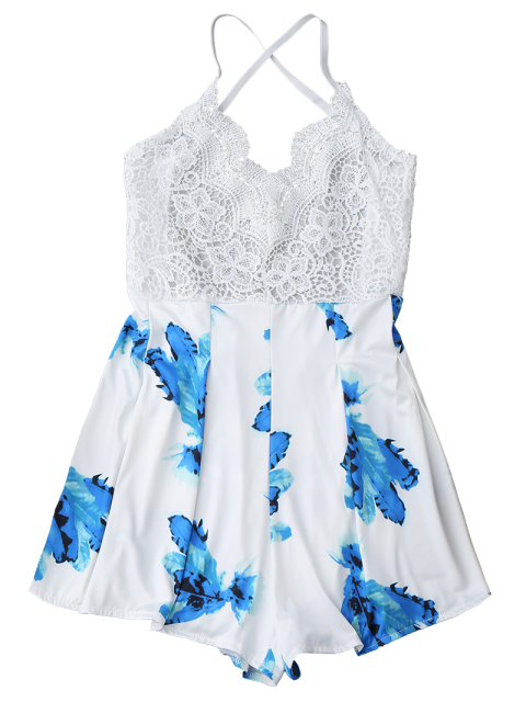 latest Lace Panel Printed Backless Romper - WHITE M Mobile