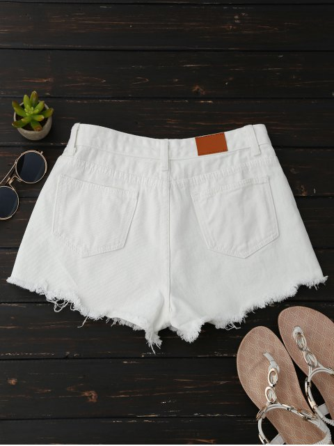 affordable Frayed Floral Embroidered Cutoffs - WHITE S Mobile