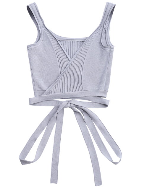 shops Knitted Wrap Crop Tank Top - GRAY S Mobile