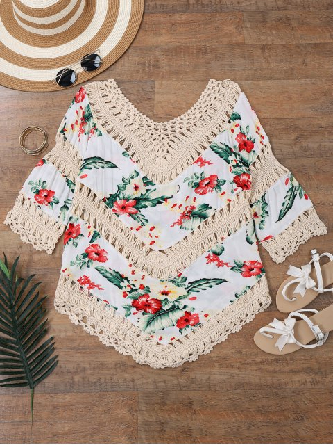 new Floral Crochet Panel Beach Cover Up Top - OFF-WHITE ONE SIZE Mobile