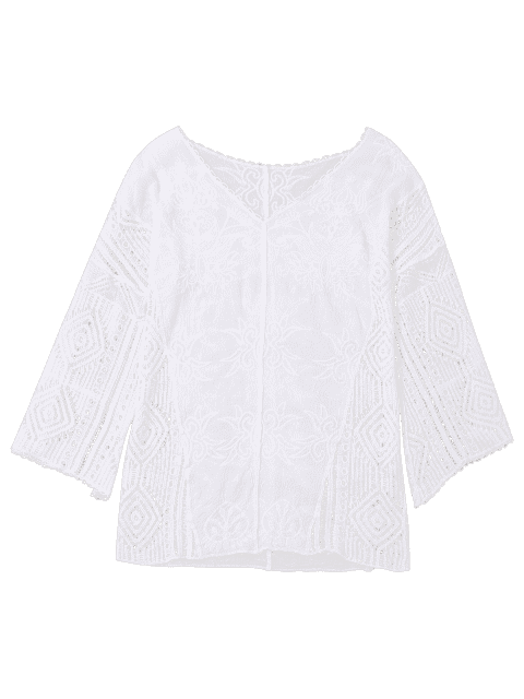 shop V Neck Embroidered Crochet Beach Cover Up - WHITE ONE SIZE Mobile