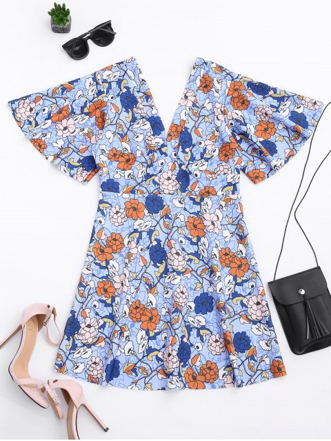 outfit Kimono Sleeve Empire Wasit Floral Mini Dress - FLORAL S Mobile