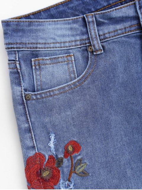 trendy Ripped Floral Embroidered Tapered Jeans - DENIM BLUE L Mobile