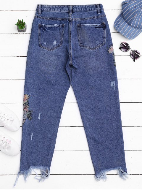 sale Ripped Cutoffs Embroidered Tapered Jeans - DENIM BLUE M Mobile