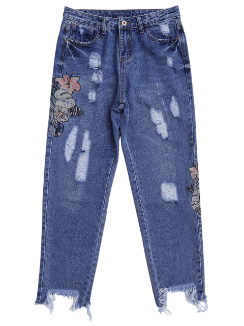 affordable Ripped Cutoffs Embroidered Tapered Jeans - DENIM BLUE S Mobile