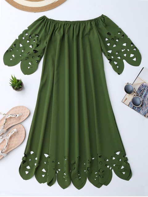 ladies Off The Shoulder Flared Dress - ARMY GREEN S Mobile