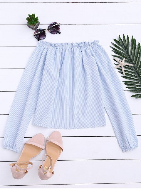 women's Striped Off Shoulder Ruffle Top - LIGHT BLUE ONE SIZE Mobile
