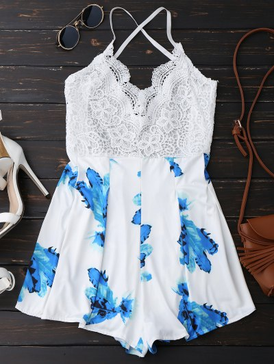 Lace Panel Printed Backless Romper - White