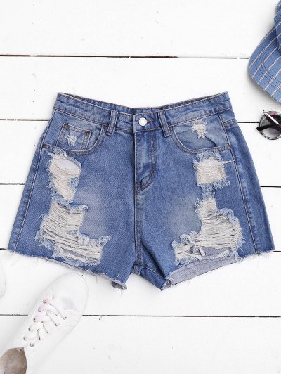 Ripped Cutoffs Denim Shorts - Denim Blue