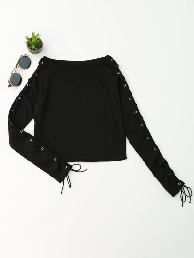 Knit Split Sleeve Lace Up Crop Top
