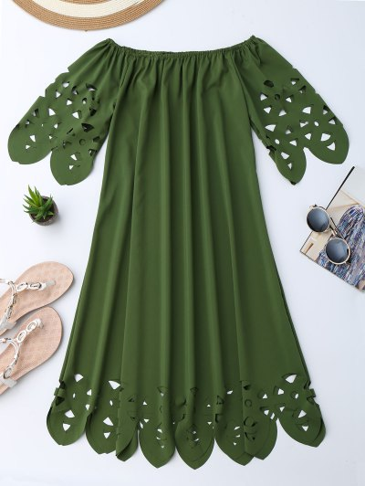 Off The Shoulder Flared Dress - Army Green