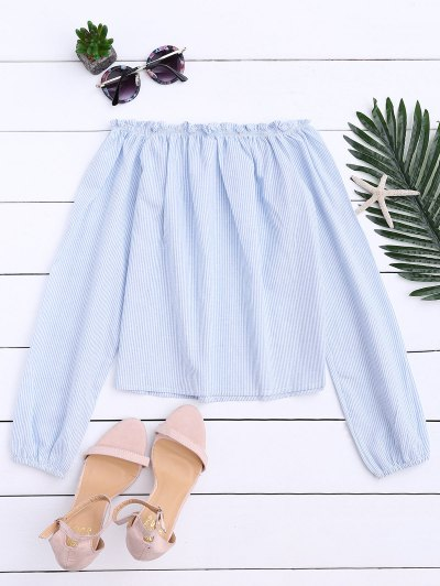 Striped Off Shoulder Ruffle Top - Light Blue