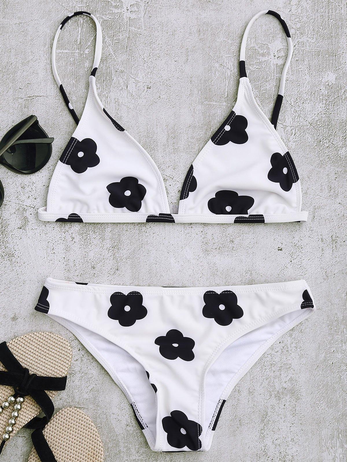 Low Waisted Floral Print Bikini Set, White
